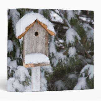 Birdhouse near pine tree in winter binder