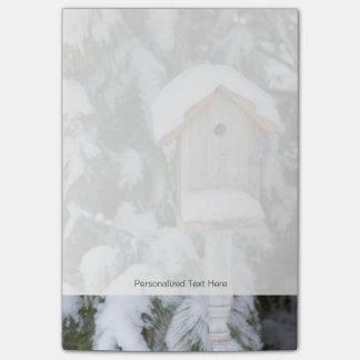 Birdhouse near pine tree in winter post-it® notes