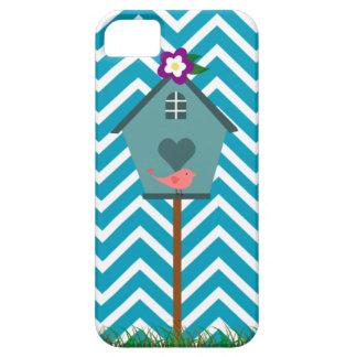 Birdhouse on Aqua White Chevron iPhone 5 Case