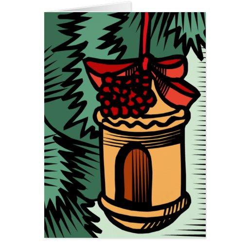 Birdhouse Ornament Christmas Card