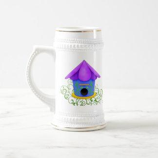 Birdhouse púrpura Stein de cerámica del tejado Taza