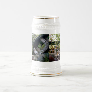 Birdhouse roto otoño jarra de cerveza