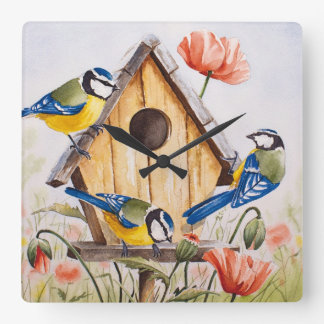 Birdhouse Square Wall Clock