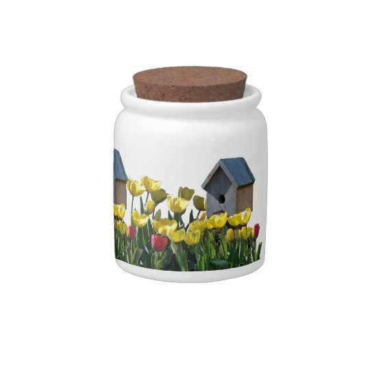 Birdhouse Tulips Candy Jar