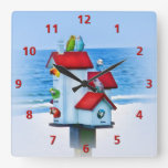 Birdhouse with Parrots and Parakeets Clock