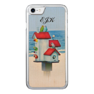 Birdhouse with Parrots and Parakeets, Monogram Carved iPhone 7 Case