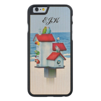 Birdhouse with Parrots and Parakeets, Monogram Carved Maple iPhone 6 Case