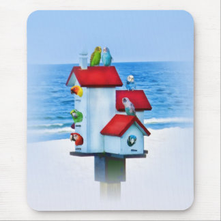 Birdhouse with Parrots and Parakeets Mouse Pad