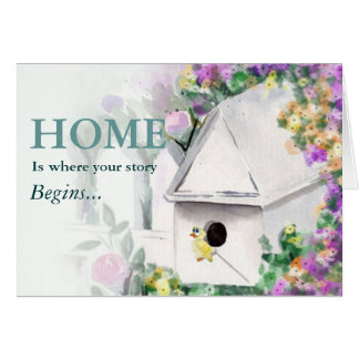 Birdhouse with yellow bird stationery note card