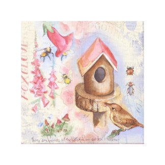 Birdhouse Wrapped Canvas
