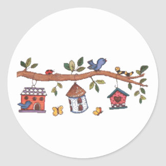 Birdhouses Classic Round Sticker