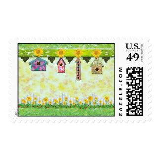 Birdhouses en sello de la primavera