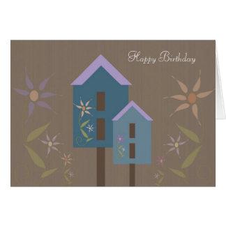 Birdhouses Happy Birthday Card