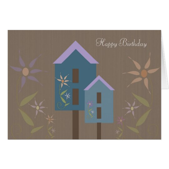 Birdhouses Happy Birthday Card