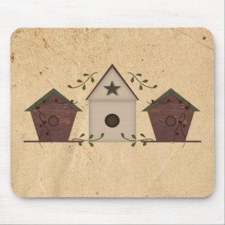 Birdhouses primitivos Mousepad Tapetes De Raton