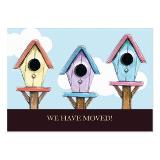Birdhouses We Have Moved Mini Announcement Business Card Templates