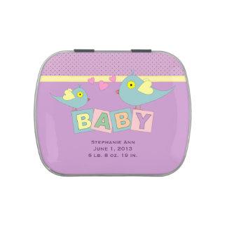Birdie Baby Blocks Birth Announcement Candy Tin