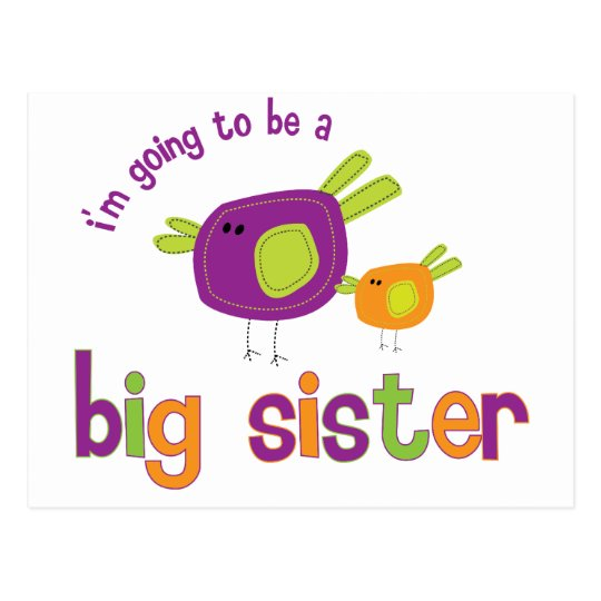 birdie big sister to be postcard