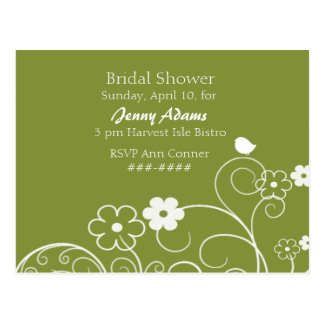 Birdie Bridal Shower Invite Postcard
