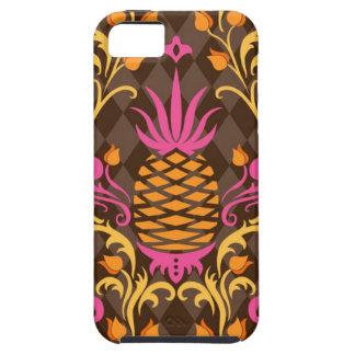 Birdie Damask Brown iPhone Case