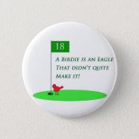 Birdie Eagle Golf Cartoon Button