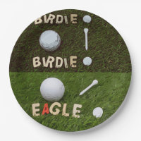 Birdie Eagle Golf with Tee and Marker Paper Plate