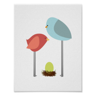 Birdie Family with Nest. Singleton. Nursery Decor. Poster