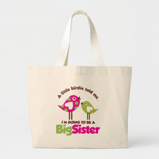 Birdie Going To Be A Big Sister Jumbo Tote Bag