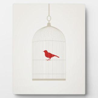 Birdie in a cage plaque