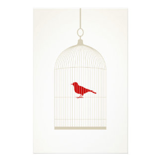Birdie in a cage stationery