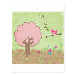 Birdie in a Tree Postcard