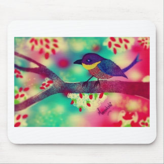 Birdie in Dots Mouse Pad