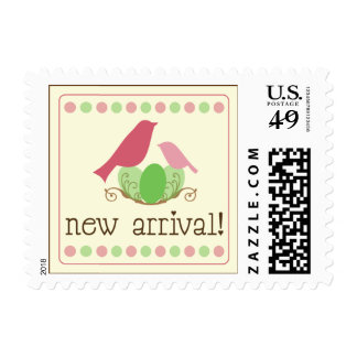 Birdie New Arrival Baby Announcement Stamp (pink)
