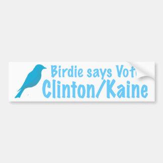 Birdie says Clinton/Kaine Bumper Sticker