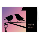 Birdie Sunset/ Change of Address Greeting Card
