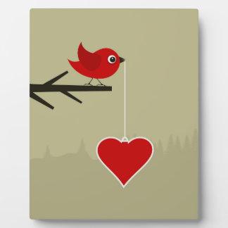 Birdie with heart plaque