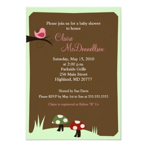 Birdie Woodland 5x7 Baby Shower Invitation