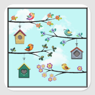 Birdies & Houses Square Sticker