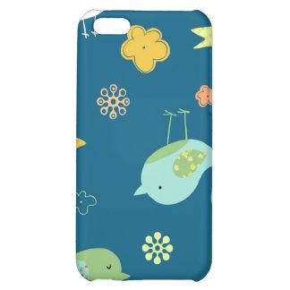 Birdies on Blue Case For iPhone 5C