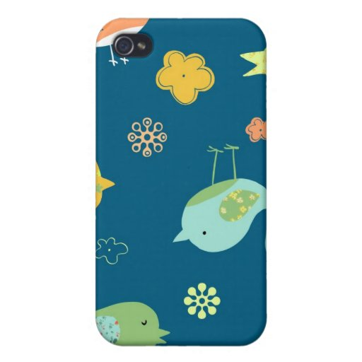Birdies on Blue Case For iPhone 4