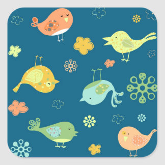 Birdies on Blue Square Sticker