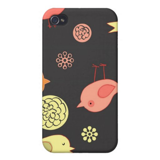 Birdies on Grey Cases For iPhone 4