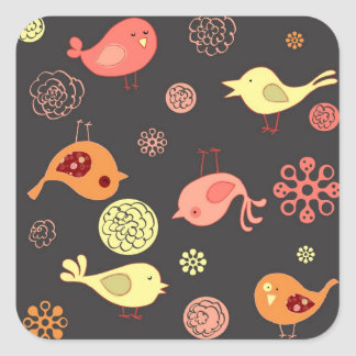 Birdies on Grey Square Sticker