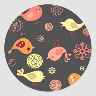 Birdies on Grey Classic Round Sticker