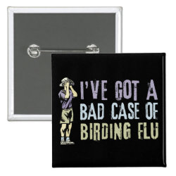 Square Button with Birding Flu design