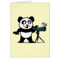 Note Card with Cute Birding Panda design