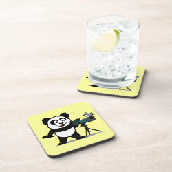 Cute Birding Panda Beverage Coaster