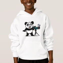 Girls' American Apparel Fine Jersey T-Shirt with Cute Birding Panda design