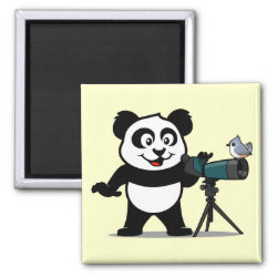 Square Magnet with Cute Birding Panda design