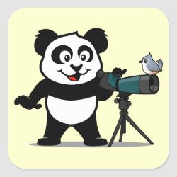 Square Sticker with Cute Birding Panda design